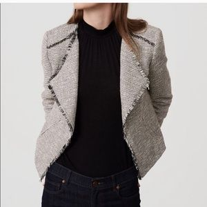 Ann Taylor Loft Draped Tweed Fringe Jacket/Blazer